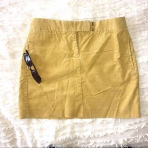 Corduroy mini skirt gold/mustard J crew 4